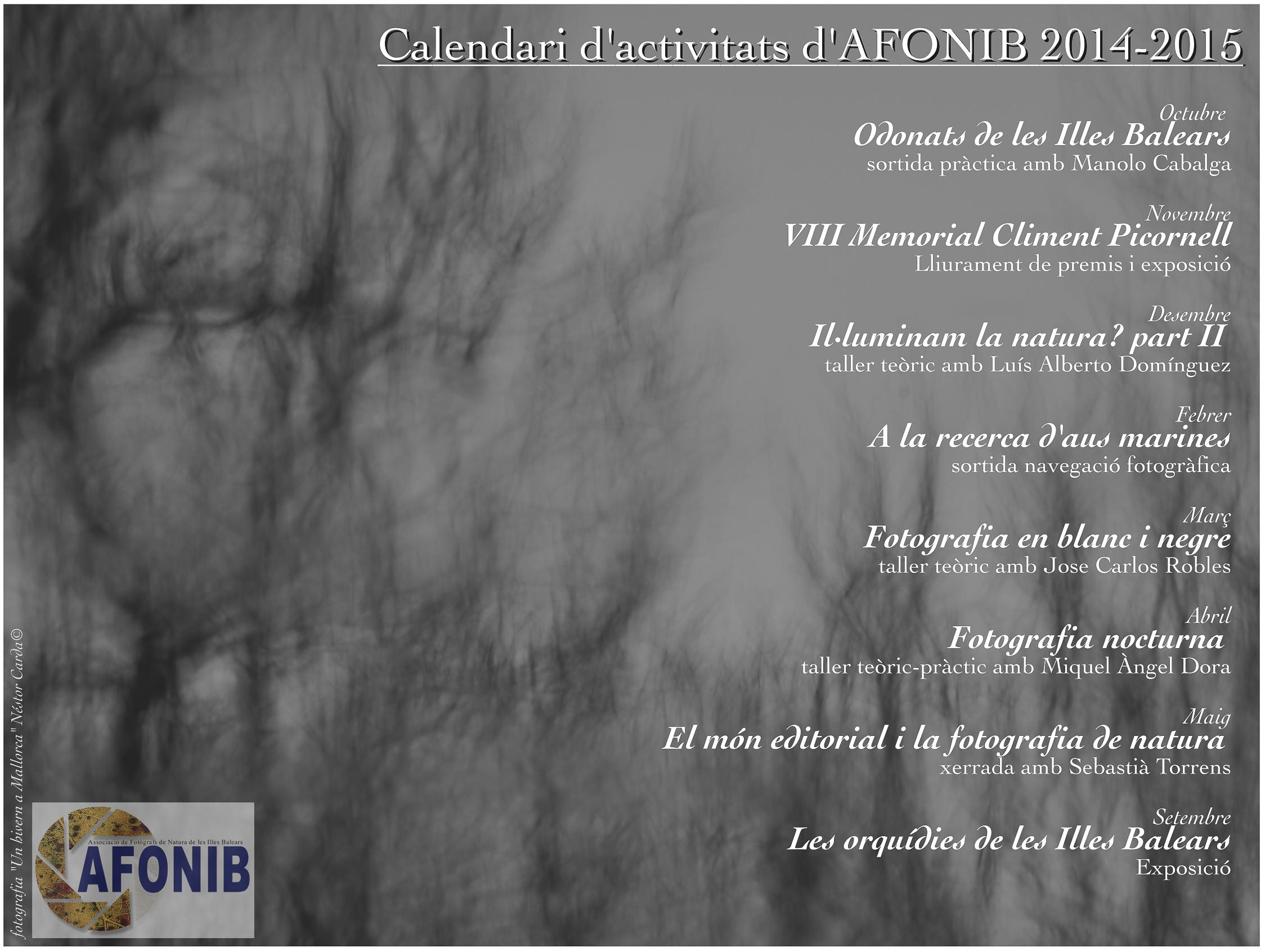 Calendari activitats 2014-15